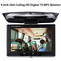Duoying Monitor de DVD para automóvil Monitor de automóvil Universal Pantalla TFT-LCD de 9 Pulgadas 180 ° Girar Portátil Monitor de Montaje en Techo para vehículos