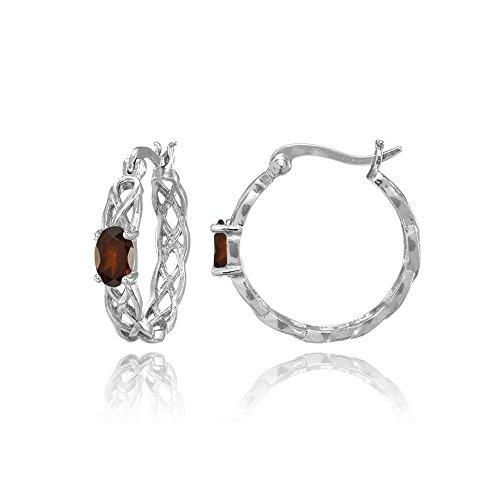 Sterling Silver Garnet Celtic Knot Round Hoop Earrings
