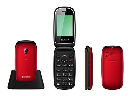 Sunstech CELT17 - Teléfono móvil Compacto de diseño Elegante, Teclas Grandes y botón SOS. Color Rojo.