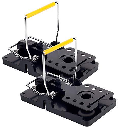 GERAWOO Trampas para Ratas Grandes, 2 Pcs Reutilizable Cepos para Ratas, Trampa Ratones Potente, Ratonera Sensibilidad para Interiores y Exteriores