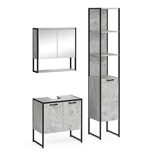 Vicco Loft Badmöbel Set Fyrk Spiegelschrank Hochschrank Midischrank Unterschrank (Beton, Set 3)