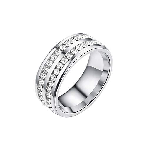 Biggystar DamenRing Zirkonia Rund Weiß Kristall Zirkonia Gewichtsverlust RingSilber Titan Stahl handsomely