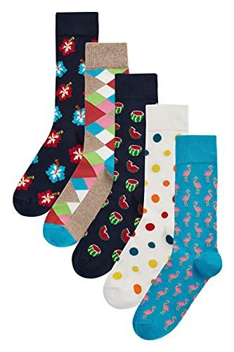 HS by Happy Socks Hibiscus - Confezione da 5 paia di calzini da uomo, taglia 41-46