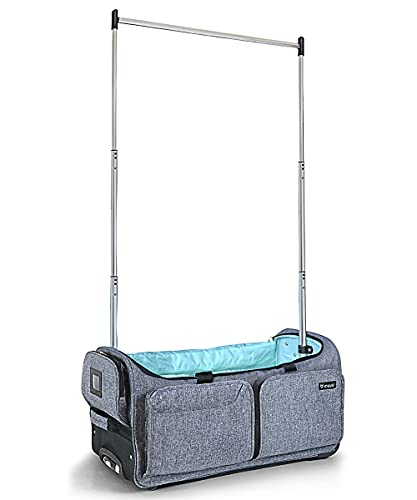 Mavii Garment Rack Duffel-Wheeled 28 Inch Collapsible Bag, Travel Costume Rack Rolling Upright Luggage, Grey