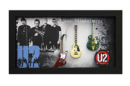 RGM9042 Bono U2 Colección de Guitarra en Miniatura en Marco de Caja de Sombra