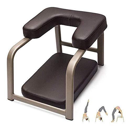 ZDWN Yoga-Kopfständer-Hocker, multifunktionale Sport-Trainingsbank für perfekte Körper-Yoga-Hilfe, Workout-Stuhl, Holz- und PU-Pads, Heim-Fitnessgerät, braun, 40 x 54 x 35 cm