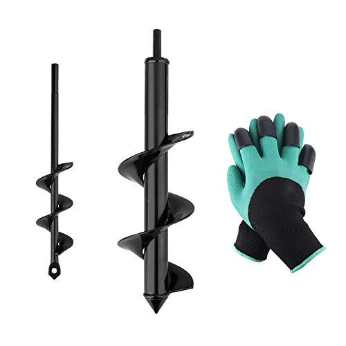 HandsEase Garden Auger Drill Bit Set 2 PCS Garden Rapid Planter with Garden Genie Gloves for Planter Tree Hand Cordless Drill Soil Posthole Digging Holes 118quotx315quot and 87quotx157quot