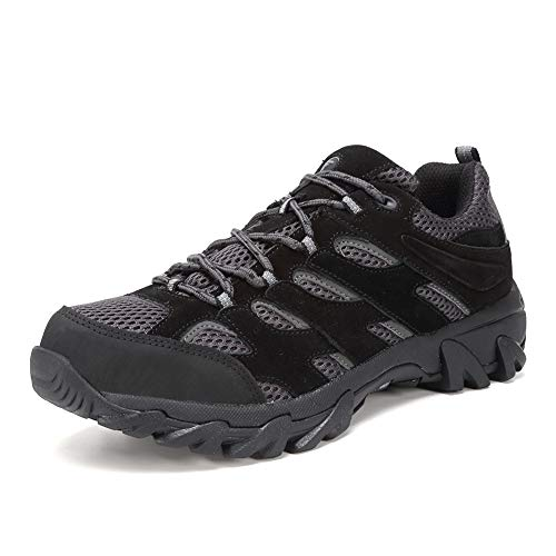 FANTURE Men's Lightweight Hiking Shoes Camping Shoes Outdoor Sneakers U419FSYDX002-black-44