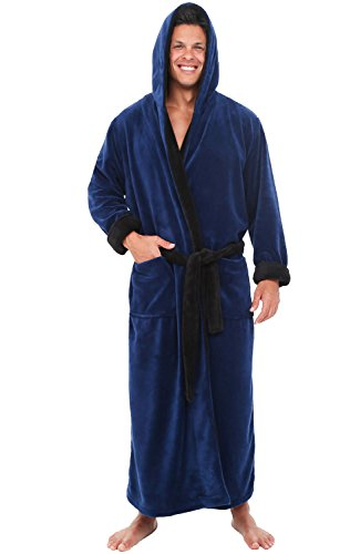 Alexander Del Rossa Men's Warm Fleece Robe with Hood, Big and Tall Bathrobe, 1XL 2XL Navy Blue with Black Contrast (A0125NBB2X)