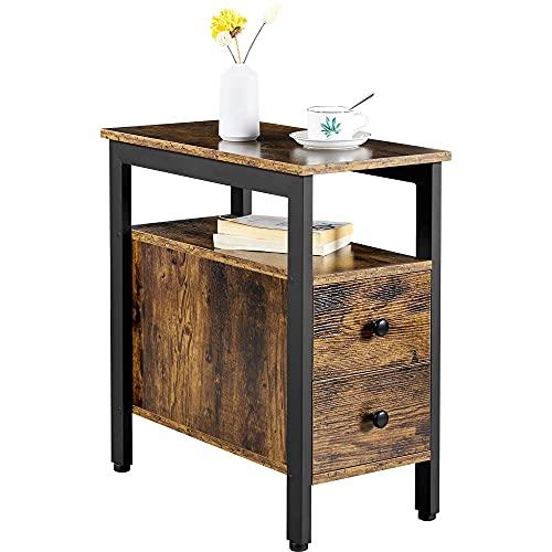 Yaheetech Beistelltisch, Nachttisch, einfach zu montieren, Sofatisch mit Schubladen, Couchtisch im Industrie-Design, stabil, platzsparend, Wohnzimmer, Schlafzimmer, Vintage