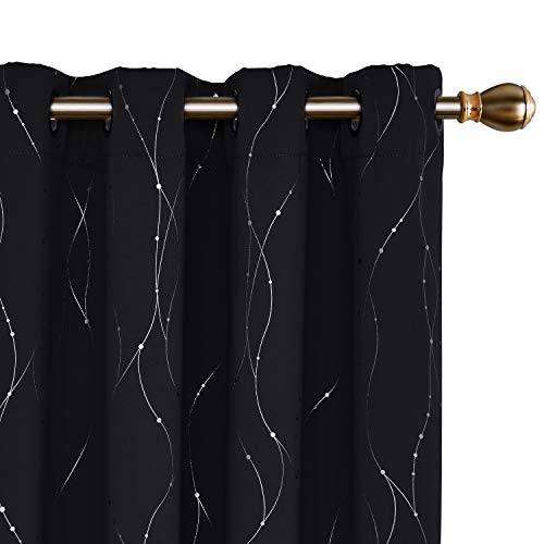 Deconovo Black Curtains Wave Line with Dots Printed Grommet Blackout Curtains for Living Room 52 x 84 Inch Black 2 Panels