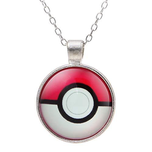 Alushisland Joyas De Collar con Colgante De Cristal Chapado En Plata con Piedras Preciosas De Pokemon Time