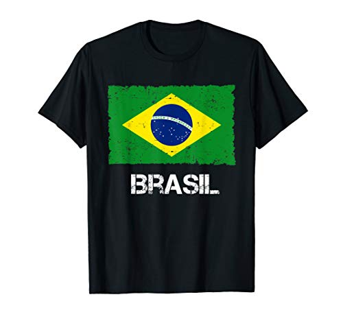 Brasilien Flagge Vintage I Brasil Used Look Fahne T-Shirt