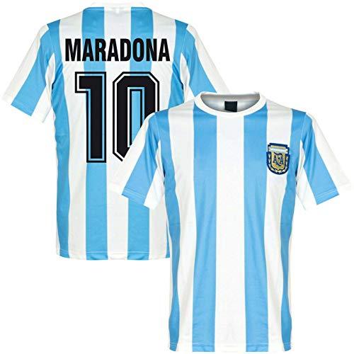 Juyuntong Tribute to Diego Maradona # 10 Vintage Argentina Home Soccer Jersey Camiseta Conmemorativa Copa del Mundo 1986 Retro México - Bye God