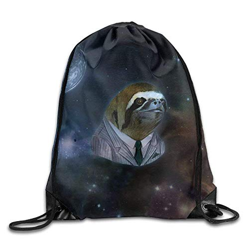 Etryrt Prämie Turnbeutel,Sporttaschen, Drawstring Bag Gym Bag Travel Backpack Cute Funny Sloth Space Gym Equipment Backpacks for Boys Girls Mothers Day 16.9x14.2