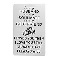 夫へのギフト、夫への刻印入り財布インサート、メタルウォレットカード挿入、ラブメッセージ、夫への記念カード。