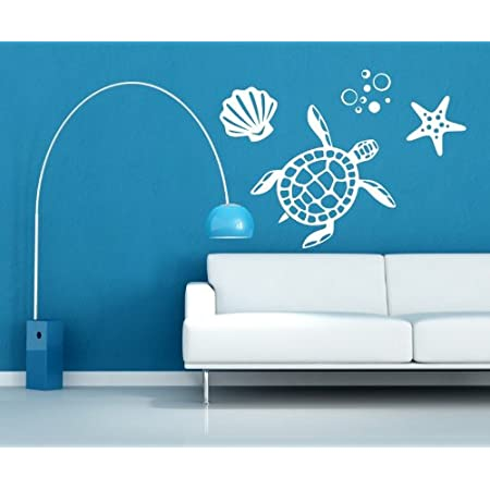 Sea Turtle And Shells Vinyl Wall Decal Ocean Decals Sea Decals Turtle Wall Decals Aquatic Wall Decals Ocean Wall Decor Beach Decals Turtle Wall Stickers Plus Free 12 White Hello Door