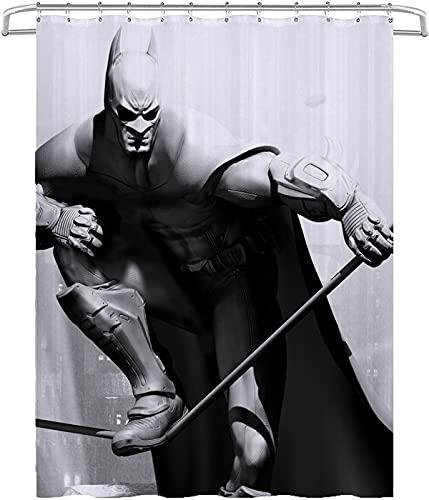 Batman Superman Movie Duschvorhang Schimmelresistente wasserfeste Polyestergewebe Extra Lange Badezimmer-Duschvorhänge mit Haken, maschinenwaschbar & schwerem Saum 78.74