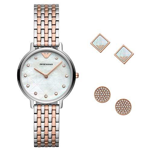Emporio Armani Damen Analog Quarz Uhr mit Edelstahl Armband AR80019