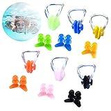 Sei set di tappi per le orecchie e clip per il naso in silicone morbido impermeabile, adatti per l'allenamento di nuoto per bambini di età superiore ai sette anni e adulti, protezioni per il nuoto