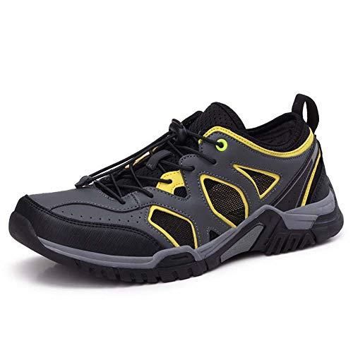 WHSS Beach Shoes Schwarz Gelb Sommerseite Outdoor Mesh Upstream Schuhe Wandern niedrige Schuhe für Hilfe vorne mit atmungsaktivem Gummi Anti-Rutsch-Trampolinen Angelschuhe Trockenschuhe