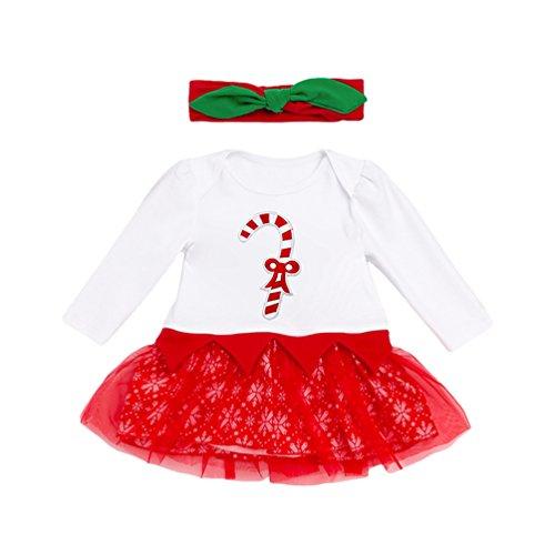 Anguang Bambina Natale Costume della Santa del Partito del Vestito Tutu Romper Outfit Abitini, 0-24 Mesi