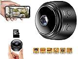 Mini Cámara Espía Oculta | Camara WiFi Full HD 1080p | con Detección de Movimiento | Mini Camara de Seguridad Portátil | con Visión Nocturna para Vigilancia Interior, Exterior. Redonda
