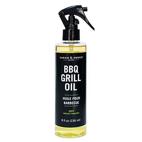 Caron & Doucet - BBQ Grill Cleaner Oil   100% Plant-Based & Vegan   Best for Cleaning Barbeque Grills & Grates   Use with Wooden Scrapers, Brushes, Accessories & Tools   Great Gift for Dad! (8oz)