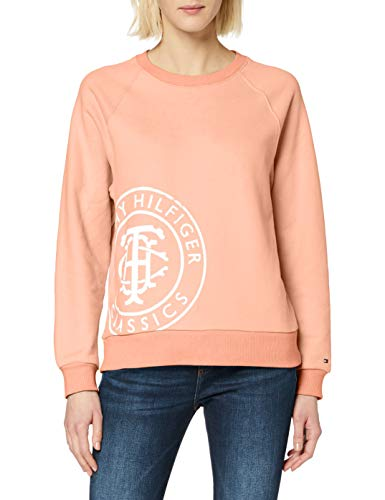 Tommy Hilfiger Damen Vincy Regular C-nk Sweatshirt Ls Poloshirt, Orange (Island Coral Sn7), 32 (Herstellergröße: X-Small)