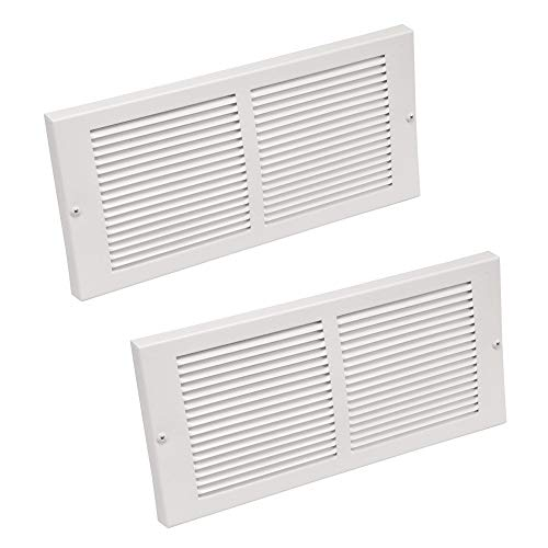 Imperial 14' x 6' Painted Metal Baseboard Grille, White, RG0033, 2 Pack