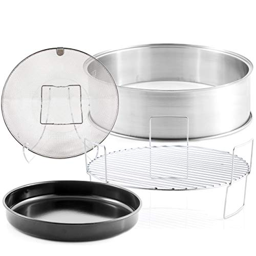"""NUWAVE Primo Extender Ring Kit; Cook up to 16 pound Turkey or 14 pound Ham for the Holidays; Contains 5"""" Stainless Steel Extender Ring, Reversible 3"""" Cooking Rack; 10"""" Enamel Baking Pan; Stainless Steel Air Fry Basket"""
