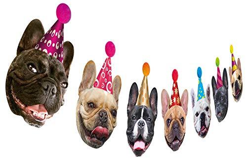 Dog Birthday Garland, Funny French Bulldog Face Portrait Birthday Banner, Bday Bunting Decoration…