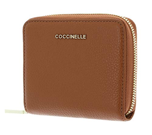 Coccinelle Metallic Soft Leather Zip Around Wallet Caramel