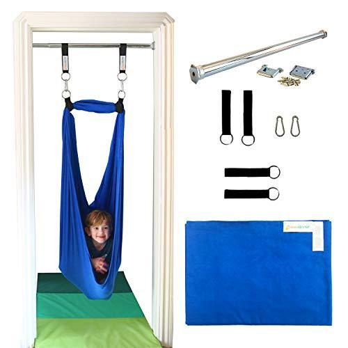 DreamGYM Doorway Sensory Swing Kit - Blue Compression Swing - 95 Cotton