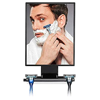 ToiletTree Products Deluxe Larger Fogless Shower Shaving Mirror with Squeegee, Big, Black.
