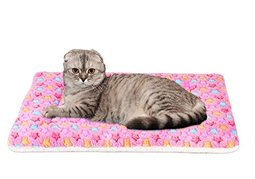FJWYSANGU Pet Blanket Premium Fluffy Flannel Cushion Soft and Warm Mat for Dogs Cats Small Size Animal Pink Stars
