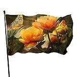 AOOEDM Bandera de jardín Flor de mariposa Decoración de patio al aire libre Banderas del hogar Bandera de césped de pared Decoración de poliéster 3 'X 5'