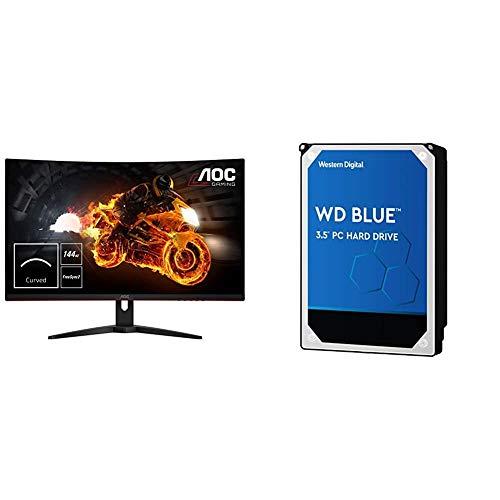"""AOC C32G1 32"""" Curved Frameless Gaming Monitor, FHD 1920x1080, VA Panel, 1ms MPRT, 144Hz, Black & Western Digital 1TB WD Blue PC Hard Drive - 7200 RPM Class, SATA 6 Gb/s, 64 MB Cache, 3.5"""" - WD10EZEX"""