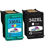 Kingway Cartuchos de tinta remanufacturados HP 336XL 342XL 336 XL 343 XL compatibles con HP Photosmart 2713 2710 2575 C3180 8150 D5160 HP Officejet 6310 6313 6315