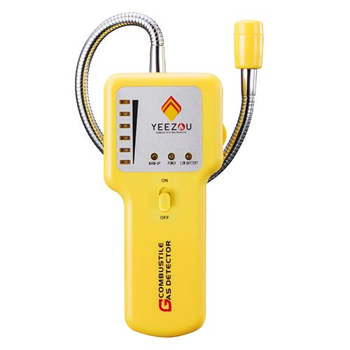 Y201 Portable Propane Methane Natural Gas Leak Detector; Gas Sniffer to Locate Combustible Gas Leaks Source Like Fuel, LPG,LNG, Butane,Sewer Gas; Sound & Visual Alarm; Flexible Sensor Probe