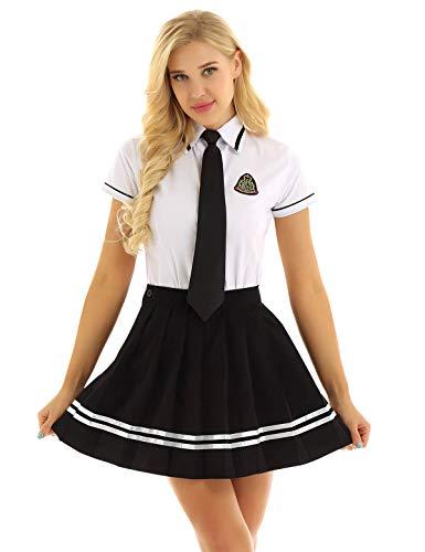Freebily Uniforme Scolastica Giapponese Studentessa Costume Donna Carnevale Cheer Leader Clubwear Camicetta Bianca Manica Corta Gonna Scozzese Ragazza Completo Bianco&Nero Small
