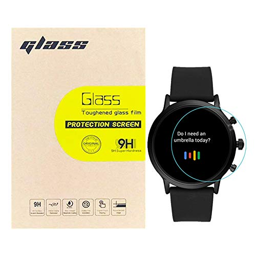 (3-Pack) LUPAPA for Fossil Gen 5 Carlyle HR Screen Protector Tempered Glass, [Bubble Free, Anti-Scratch, Max Coverage] 9H Hardness High Definition Clear Smartwatch Protective Glass