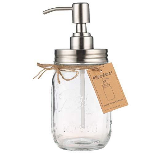 Plomkeest 16oz Einmachglas Seifenspender Klarglas Glas Seifenspender mit rostfreiem Edelstahlpumpe Flüssigseifenspender für Badezimmer, KitchenDecor Ideal für Lotionen, Flüssigseifen