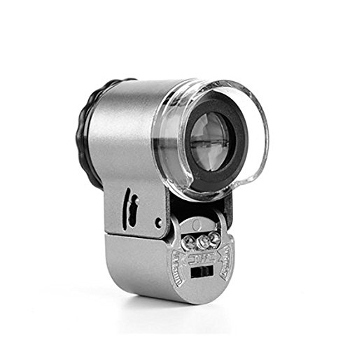 G&M Mini 50X Microscope LED Jewelery Loupe UV Currency Detector Portable Magnifier Magnifying Glass Eye Lens with LED Light