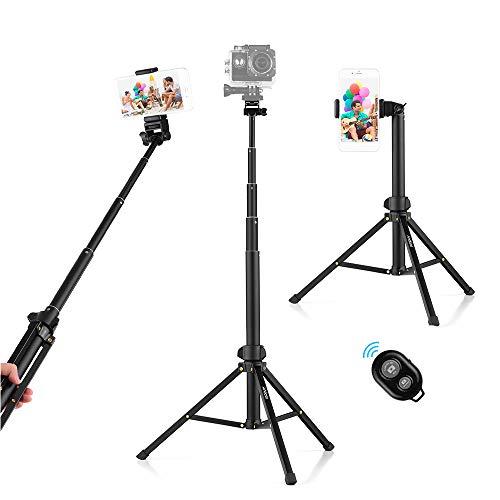 Andoer Handy Stativ 150cm Leichtgewicht Wireless Selfie-Stange mit 2 in 1 Halterung und Bluetooth-Fernbedienung Kamera Stativ für iPhone Android Samsung Huawei Smartphones.