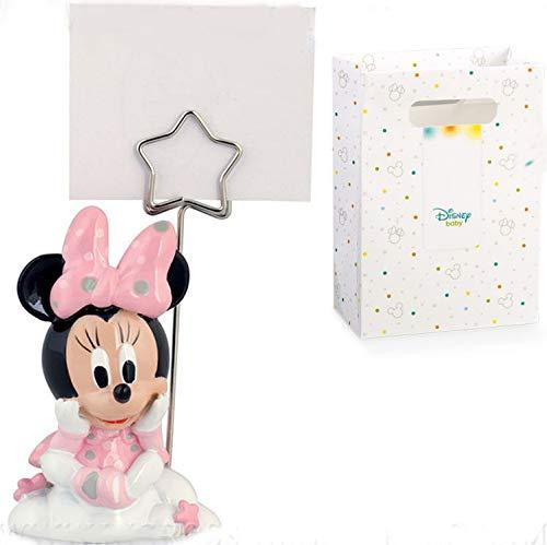Memoclip portafoto con Minnie in resina rosa, firmata Walt Disney, con asticina a stella bomboniere segnaposto battesimo femmina, completo di scatola regalo (senza confezionamento)