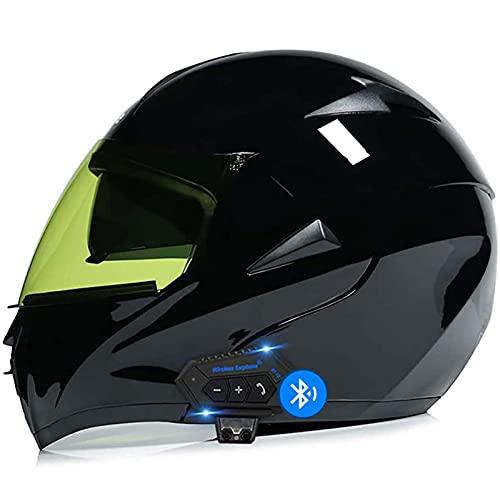 Sebasty Bluetooth Casco Moto Modular ECE/Dot Homologado Casco de Moto Integral Scooter para Mujer Hombre Adultos con Doble Visera Cascos de Motocicleta 8,L