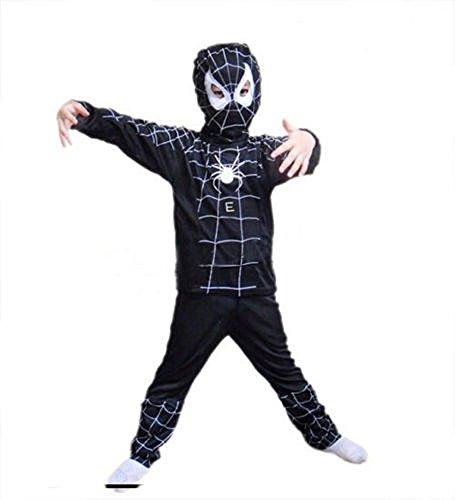 Unbekannt Halloween Karneval Spinnen Netz Anzug Kostüm Spiderman Kinder Schwarz (3-5 Jahre)