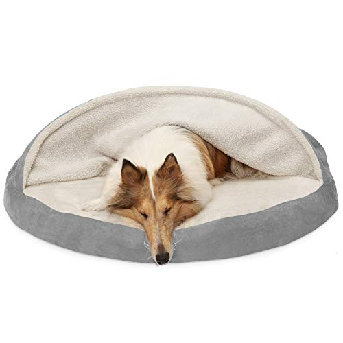 Furhaven Pet Dog Bed | Orthopedic Round Cuddle Nest Faux Sheepskin Snuggery Blanket Burrow Pet Bed w/Removable Cover for Dogs & Cats, Gray, 44-Inch