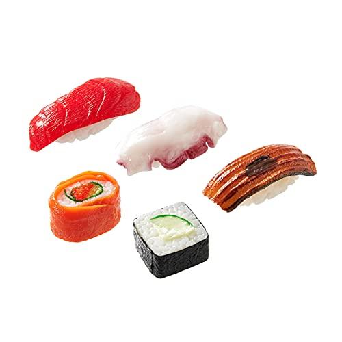 寿司キーリング 5種 10種 20種セット 食品サンプル お寿司 本物そっくり プレゼント カバン 鍵 ポーチ おもちゃ フェイクフード (まぐろ・タコ・穴子・サーモンロール・かっぱ巻)